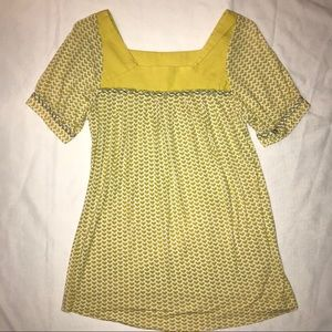 Anthro One September yellow embroidered top heart